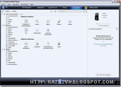 Windows media player 11 sincronizaçao de midia razr2 v8