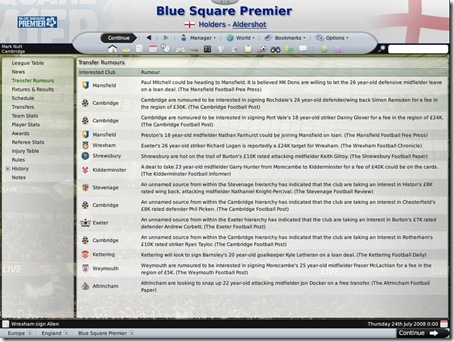 Football Manager 2009 Transfer Rumours