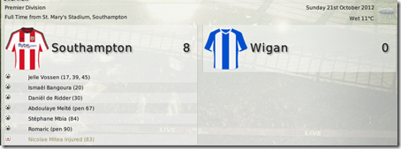 But just right after this terrible game Southampton performed fantastically against my former club Wigan (LINK) getting the biggest win to the club's history of records