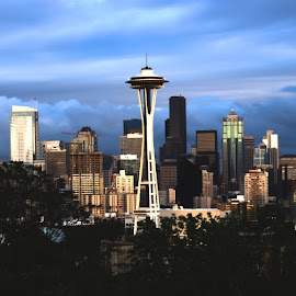 Clouds of Seattle by Ivano Lombardo - City,  Street & Park  Skylines ( clouds, skyline, space needle, seattle, cityscape, dramatic sky, evening )