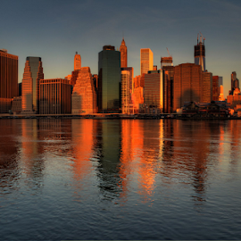 Manhattan Skyline by Rodrigo Alvarez - City,  Street & Park  Skylines ( skyline, reflections, cityscape, travel, nyc,  )