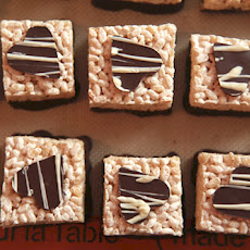 Bourbon Caramel Rice Crispy Treats with Dark Chocolate (gluten free)