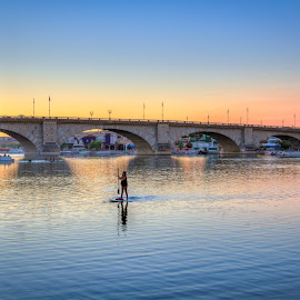 The London Bridge by Eric Porter - Landscapes Travel ( paddle surfing, london bridge, sunset, arizona, lake havasu, lake, bridge,  )