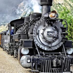 Narrow Gauge Railroad by Sandy Scott - Transportation Trains ( steam locomotive, narrow gauge railroad, locomotive, railroad, transportation, old train,  )