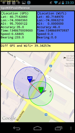GPSとWifi測位精度の差を表示