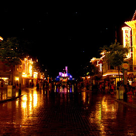DisneyLand @ night by Swati Brahmappa - City,  Street & Park  Street Scenes ( lights, colourful, amusement park, disneyland, night )