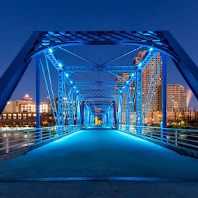 Welcome to the Blue Bridge in Grand Rapids, MI - one of my favorite cities in the state.#grandrapids  #Michigan #bluebridge #nightphotography by Hamish Carpenter - Buildings & Architecture Bridges & Suspended Structures