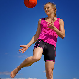 Functional fitness instructor girl 1 by Gerhard Bouwer - Sports & Fitness Fitness ( paarl, mountains, blonde, blue sky, south africa, functional fitness, soccerball )