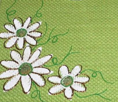 Fabric painting-White Flowers