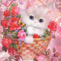 Cat In Floral Basket Live Wall icon