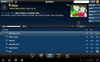 Screenshot of TiVo for Tablets