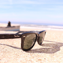 Ray Sea by Tiago Moreira - Artistic Objects Clothing & Accessories ( rayban, sea, beach, morning, sunglasses )