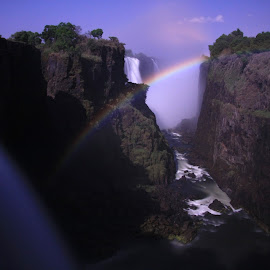 Lunar Rainbow by Daniel Peel - Landscapes Waterscapes ( gorge, waterfall, victoria falls, falls, lunar, africa, rainbow, river,  )