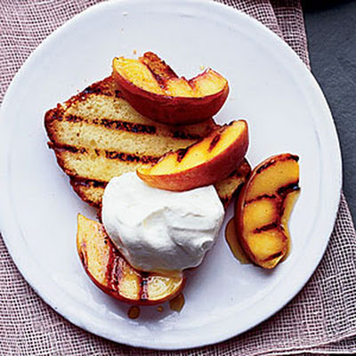 Grilled Lemon Pound Cake with Peaches and Cream