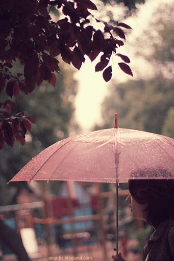 red leaves, pink umbrella, redhead woman