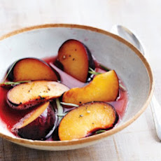 Plums with Sparkling Wine, Black Pepper, and Tarragon