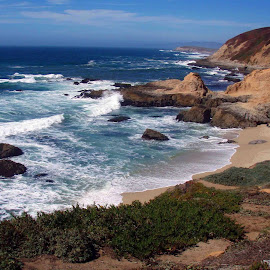 The Rocky Coast by Rayleen Hall - Landscapes Beaches ( sand, rocky coast, northern california, waves, ocean, beach, bodega bay )