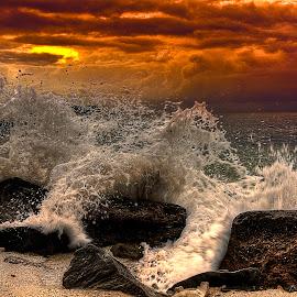 Wave Anger by Lawrence Chung - Landscapes Sunsets & Sunrises ( water, splashing, splash, anger, waves, wave, sea, rock, nature power )