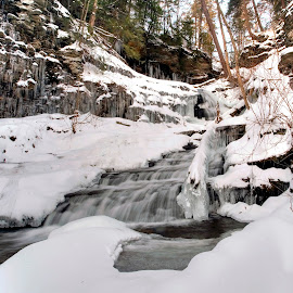 Huron Falls on the Last Day of December by Gene Walls - Landscapes Weather ( winter, huron falls, kitchen creek, falls, ricketts glen state park )