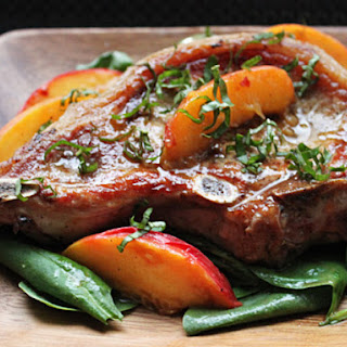 ... peach basil pork chops with bourbon peach peach and bourbon glazed