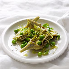 Braised Artichoke Hearts with Peas and Mint