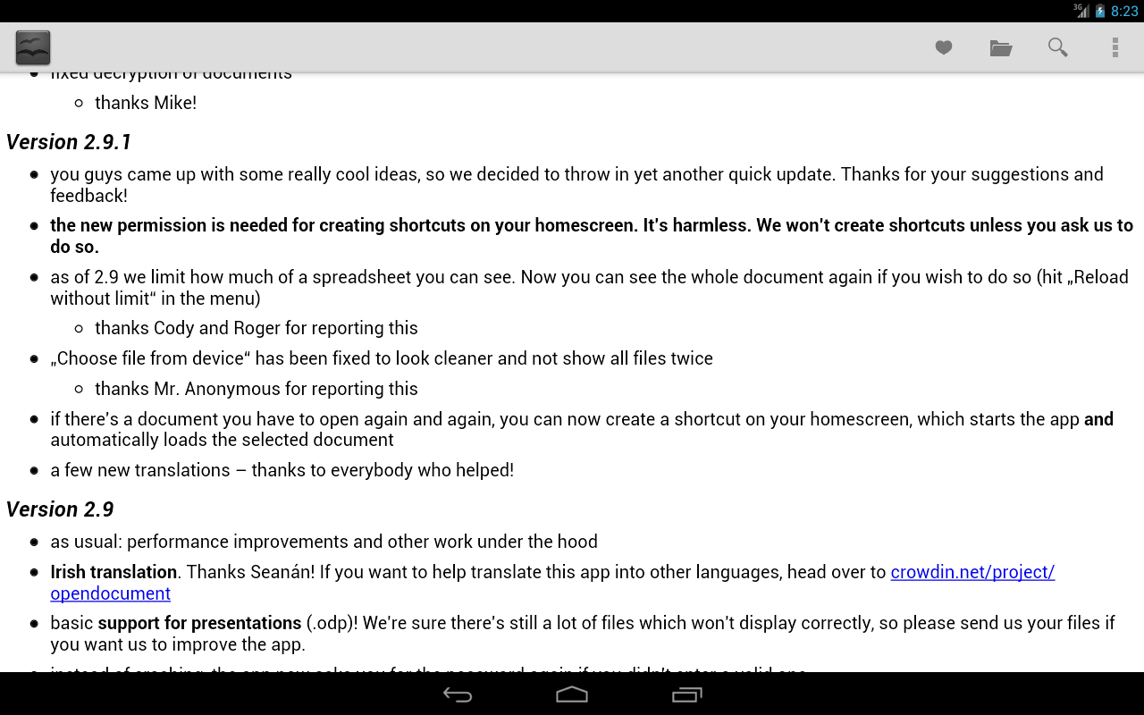 OpenDocument Reader Screenshot 6