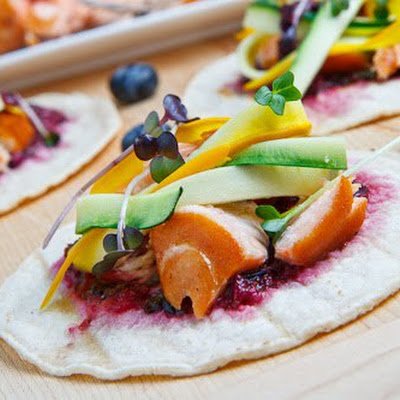 Salmon Bulgogi Tacos with Blueberry Habanero Salsa