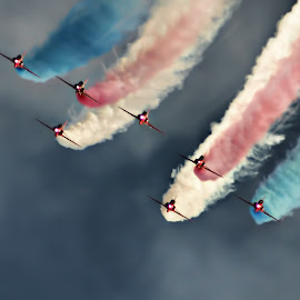 RA 2 by Kelly Murdoch - Transportation Airplanes ( red arrows, sky, ztam photography, trail, air display, display, isle of wight, smoke trail, planes )
