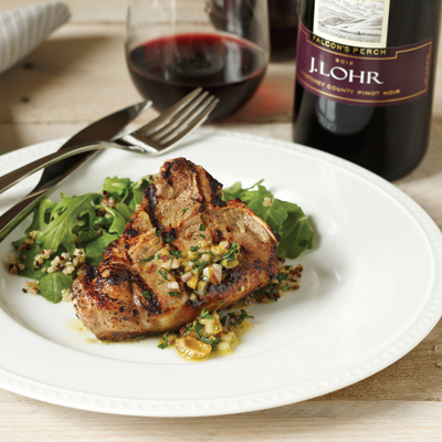 Grilled American Lamb Loin Chops with Yogurt, Orange and Olives