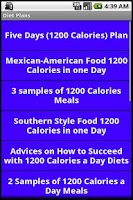 Screenshot of 1200 and 1500 Calories Diets
