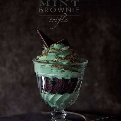 Chocolate Mint Brownie Trifles