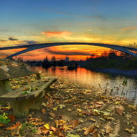 tranquility by Antoni Jordaan - City,  Street & Park  City Parks ( bench, sunset, peace, bridge, river )
