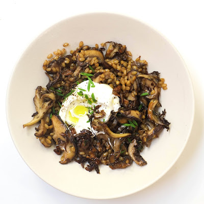 Mushroom and Wheat Berry Pilaf with Yogurt