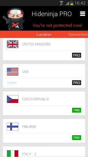 Screenshot #6 of VPN Hideninja / Android