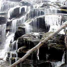 Yellow Branch Falls Frozen by Jo Anne Keasler - Novices Only Landscapes