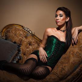 Waiting in the Boudoir by Kevin Case - Nudes & Boudoir Boudoir ( sexy, reclining woman, latina, woman, boudoir, corset, lady, brunette, beauty, portrait )