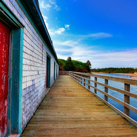 PEI Beach Boardwalk by Nicolas Raymond - Buildings & Architecture Other Exteriors ( railing, seasonal, wood, wide-angle, vibrant, architecture, travel, beach, yellow, boardwalk, colour, colourful, sky, serenity, maritime, structure, canada, colors, tourism, coastal, somadjinn, rural, colours, basin head, touristic, vacation, serene, canadian, scene, tranquility, wall, shore, colorful, vivid, prince edward island, coast, nicolas raymond, cloudy, resort, clouds, planks, water, building, hdr, maritimes, green, sea, scenic, wooden, cyan, red, blue, color, wide angle, vibrance, background, summer, brown, scenery, pei, , Beach, sunset, ocean.  )