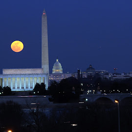 Moon Over DC by Eddie Jeffries - City,  Street & Park  Skylines ( moonrise )