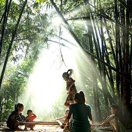 Playing in the morning by Satria Yoga.S - Babies & Children Child Portraits ( children, rol, fotografi, fun, jump )