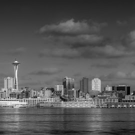 Seattle by Jimmy Jin - City,  Street & Park  Skylines ( skyline, black and white, seattle, cityscape, city )
