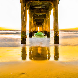 Manhattan Beach Pier  by Art LA - Buildings & Architecture Other Exteriors ( under the pier, socal, sunset, pacific ocean, winter in socal, manhattan beach pier, pier, long exposure )