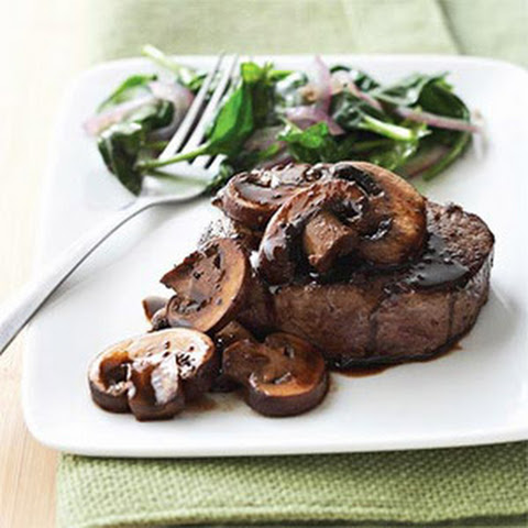 Beef Tenderloin Steaks with Brandy Mushrooms