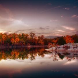 Klondike Foggy Morning Sunrise by Bill Tiepelman - City,  Street & Park  City Parks ( reflection, missouri, waterscape, trees, beach, city park, landscape, klondike park )