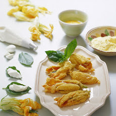 Basil-Stuffed Squash Blossoms
