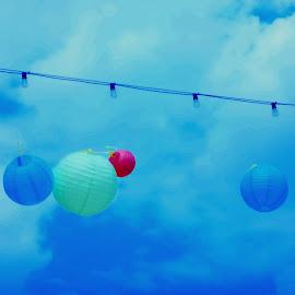 Japanese lanterns by Lori Rider - Digital Art Things ( lights, clouds, wind, sky, blue, lanterns )