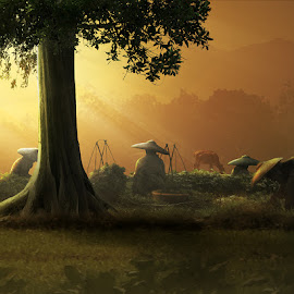 Activity by Hendra YM - Digital Art People ( tree, farmer, peoples, sawah, digital art, morning, photography )
