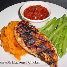 Cajun Cutlets With Sweet Potato Mash and Tomato Chilli Jam