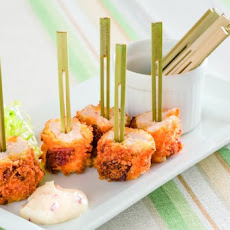 Mustard-And-Bacon-Crusted Chicken Bites With Bacon Aioli