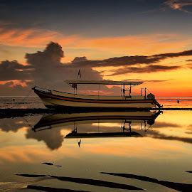 Boat at Sunrise by Ina Herliana Koswara - Transportation Boats ( water, reflection, beach, sunrise, morning, boat )