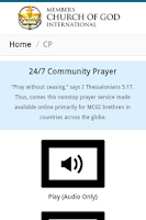 Screenshot of MCGI App